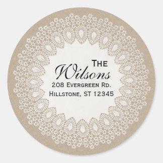 Vintage Lace Doily Return Address Round Label Round Sticker