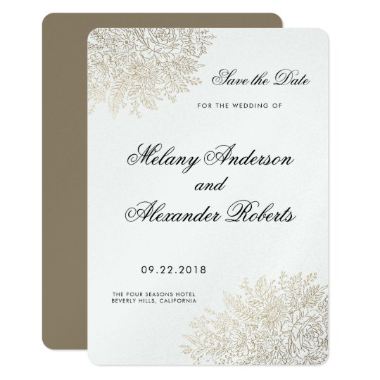Vintage Lace Elegant Gold Foil Save the Date