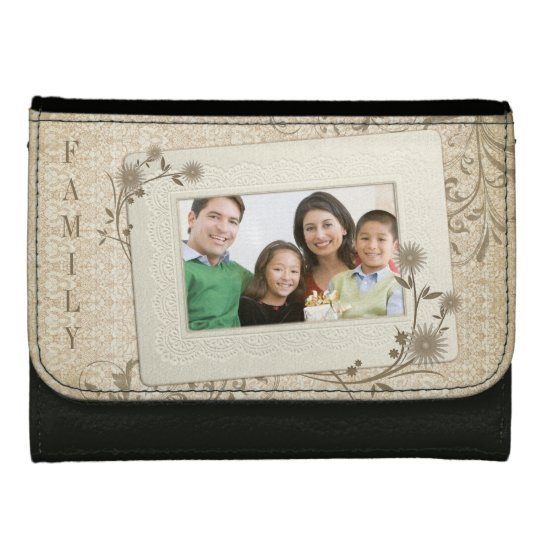 Vintage Lace Floral Family Photo Personalised Wallet For Women