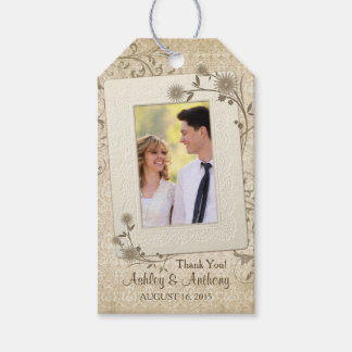 Vintage Lace Floral Photo Wedding Thank You Gift Tags