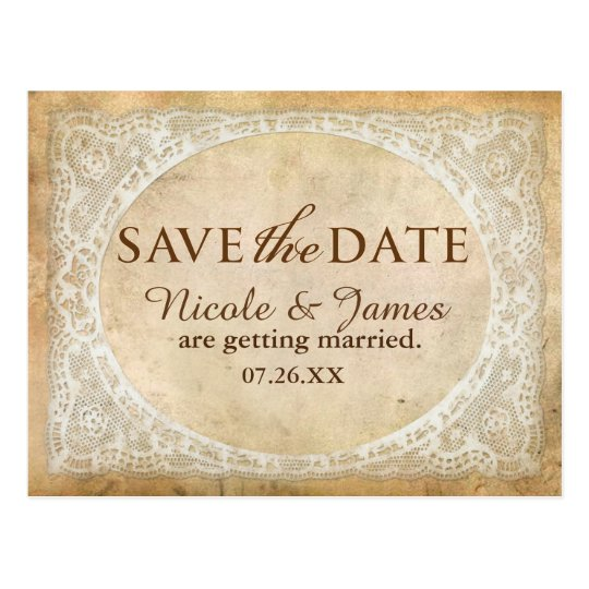 Vintage Lace Frame Rustic Save The Date Postcard