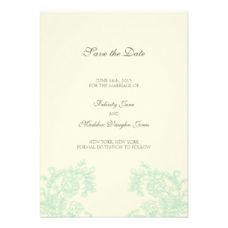 Vintage Lace Grayed Jade Save the Date Personalized Announcements