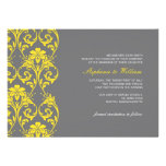 Vintage Lace Grey and Yellow Wedding Invitation