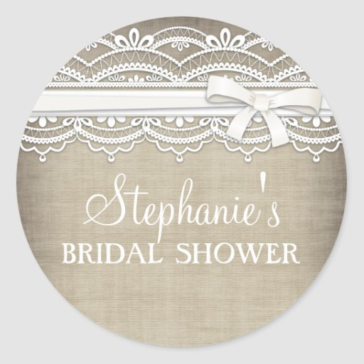 Vintage Lace & Linen Rustic Elegance Bridal Shower Stickers
