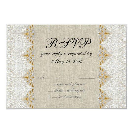 Vintage Lace Linen Rustic Wedding RSVP Card
