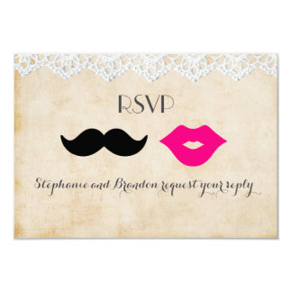 Vintage Lace Lips & Stache RSVP Card