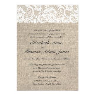 Vintage Lace Look Burlap Look Wedding Invitation