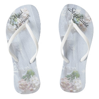 Vintage Lace Maid of Honor Wedding Flip Flops