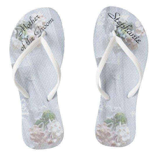 Vintage Lace Mother of Groom Wedding Flip Flops