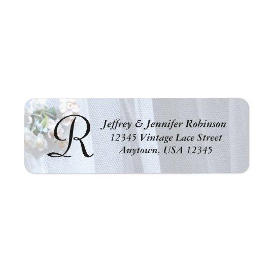 Vintage Lace Name and Address Label Monogram