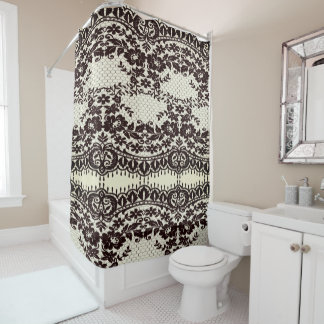 Vintage-Lace-Old-Saloon-Sepia-Unisex-Bath-Decor Shower Curtain