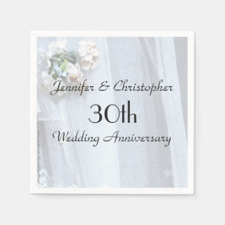 Vintage Lace Paper Napkin 30th Wedding Anniversary