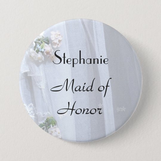 Vintage Lace Personalised Maid of Honour Button