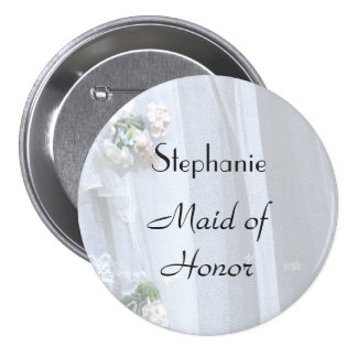 Vintage Lace Personalized Maid of Honor Button