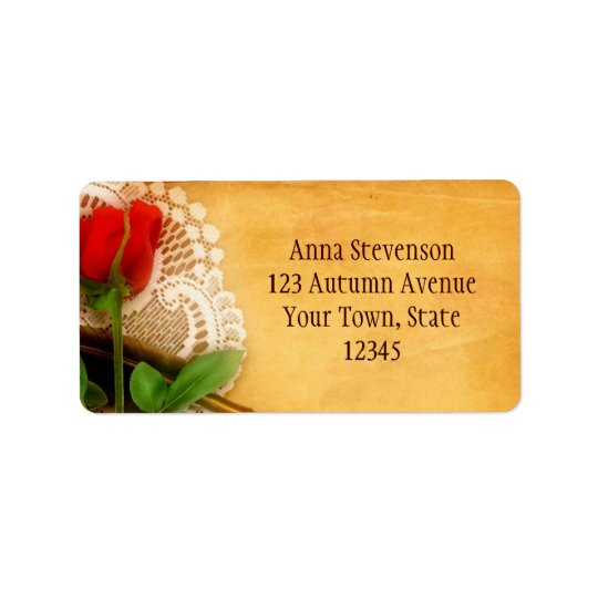 Vintage Lace, Red Rose, Parchment Label Address Label