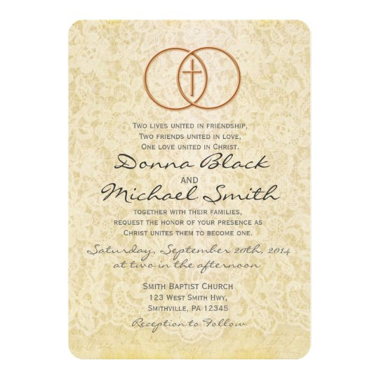 Christian Wedding Invitation Wording: Vintage Lace Religious Wedding Invitations