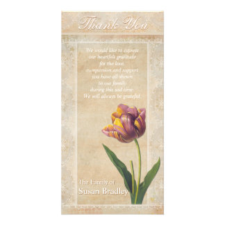 Vintage Lace Tulips Sympathy Thank You Photo Card