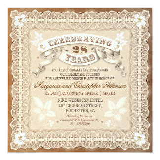 vintage lace typographic anniversary invitations