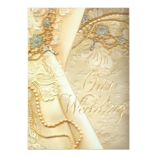 Vintage Lace Wedding Dress and Pearls Wedding Card