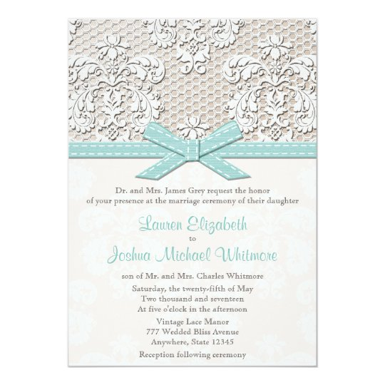 Vintage Lace Wedding Invitations Blue