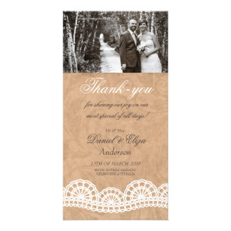 Vintage Lace Wedding Thank You Photo Card