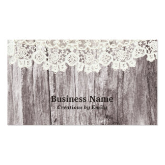 Vintage Lace & Wood Jewelry Business Cards