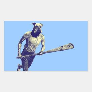 Vintage Lacrosse Airedale Rectangular Sticker