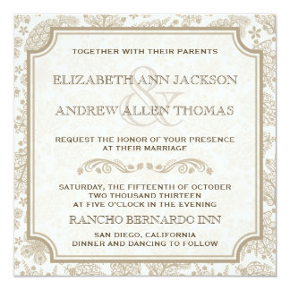 Vintage Lacy Leaves Fall Wedding Invitation