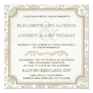 Vintage Lacy Leaves Fall Wedding Invitation
