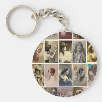 Vintage Ladies Basic Round Button Key Ring