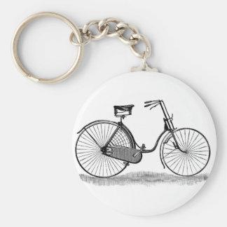 Vintage Ladies Bicycle Basic Round Button Key Ring