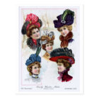 Vintage Ladies' Early Winter Hats from 1900 Postcard