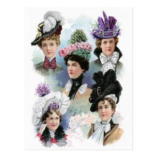 Vintage Ladies Fashion Victorian Hats Postcard