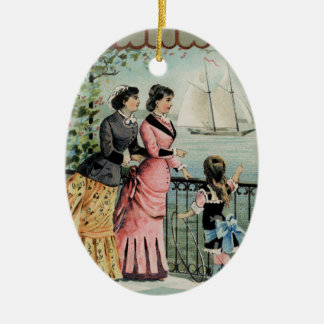 Vintage Ladies, Girl, Sailing Ship Ceramic Oval Decoration