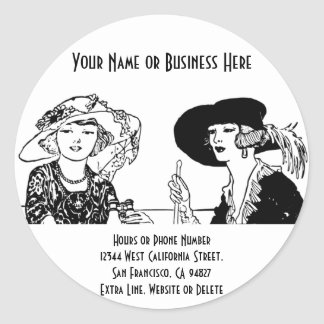 Vintage Ladies in 1920s Fashion Dresses and Hats Round Sticker