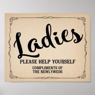 VINTAGE Ladies restroom toiletries basket SIGN