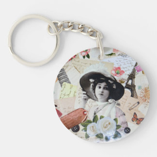 Vintage lady and old parasol, roses and letters Double-Sided round acrylic key ring
