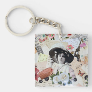 Vintage lady and old parasol, roses and letters key chain