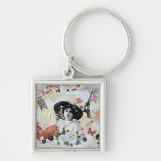 Vintage lady and old parasol, roses and letters key chains