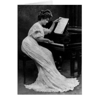 Vintage Lady at Piano Greeting Card