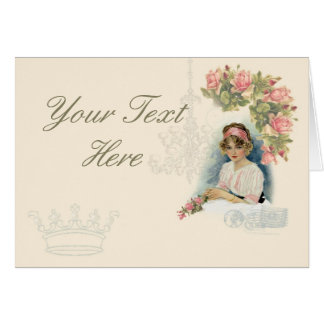 Vintage Lady & Catherine Klein Roses Note Card