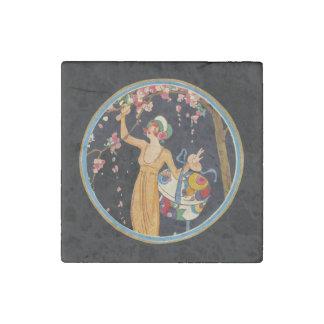 Vintage Lady Cherry Blossom Tree Hat Box Stone Magnet