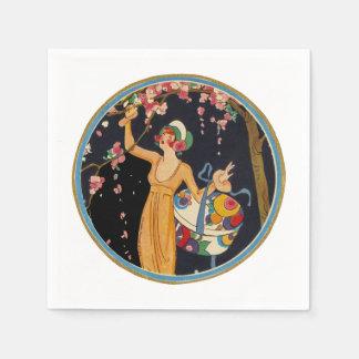 Vintage Lady Cherry Blossom Tree Hat Box Disposable Napkin