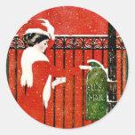 Vintage Lady Classic Round Sticker