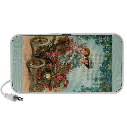 Vintage lady drives car with angel portable speakers