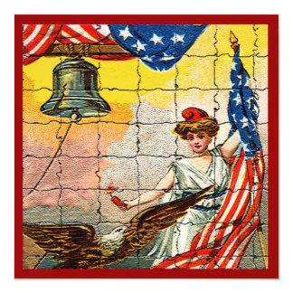 Vintage Lady, Eagle, Flag and Liberty Bell Mosiac 13 Cm X 13 Cm Square Invitation Card