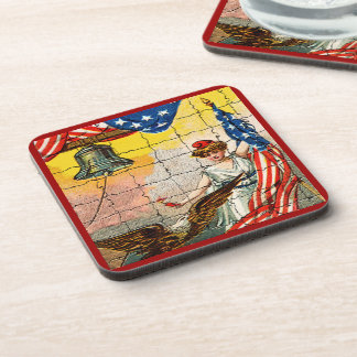 Vintage Lady Eagle Flag and Liberty Bell Mosiac Drink Coaster