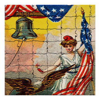 Vintage Lady, Eagle, Flag and Liberty Bell Mosiac Posters