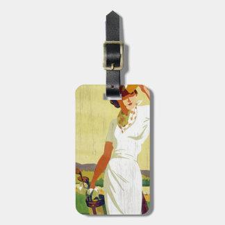 Vintage lady Golfer Golfing Luggage Tag