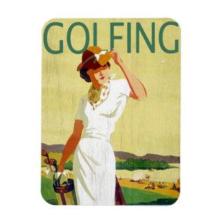 Vintage lady Golfer Golfing Magnet